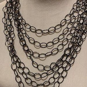 Amrita Singh Gunmetal Bib Link Necklace